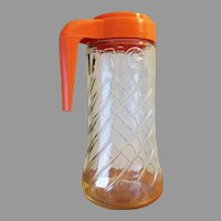 Tang Brand Clear Swirl Glass 1 Qt Beverage Pitcher Retro Orange Plastic Top with Handle and Flip Lid Spout Anchor Hocking 1960-70s