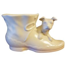 Shawnee Pottery USA Ivory Colored Shoe Planter with Dog