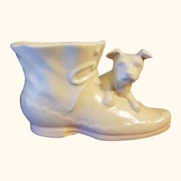 Shawnee Pottery USA Ivory Colored Shoe Planter with Dog