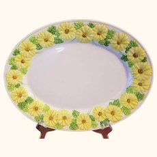Sculptured Daisy Oval Serving Platter 14 inches Metlox Poppy Trail Discontinued 1983