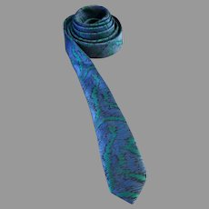 Doneagle Skinny Necktie Blue and Green Abstract Design 55.5 Inches Long 1960 - 1970s