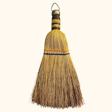Whisk Broom Natural Straw Brush 11 inches Long with Top Metal Cap