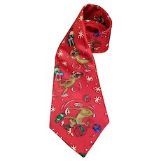 Christmas Necktie Roundtree Yorke Holiday Collection Ice Skating Reindeer Extra Long 61 inches