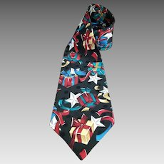 Wembley Christmas Necktie Colorful Gifts and Stars on Black Imported Jacquard Silk 60 inches