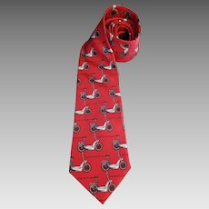 Nicole Miller Electric Bikes Transportation Necktie Red Silk 59 inches Environmental Statement Tie