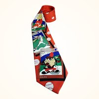 Baseball Toons Necktie Bugs Bunny, Taz, Yosemite Sam Red Jacquard Polyester 59 inches 1994 Korea