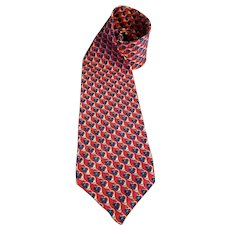 Holiday Necktie Hallmark Design Collection Hunting Horns on Red Imported Silk 55 inches USA