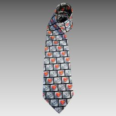 Superman Necktie Warner Brothers Hand Made Silk 59 inches Korea 1999