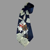 Bugs Bunny Playing Violin Necktie Silk Jacquard Hand Made KM Milano 55 inches
