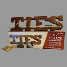 Mr. Tie Rack Wood and Brass Mint in Box Never Used