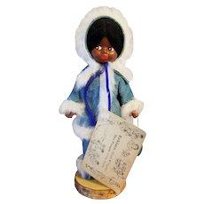 Eskimo Inuit Alaska Souvenir Doll Suede Clothes Handcrafted