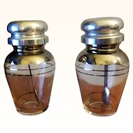Clear Glass Condiment Containers Spoon Attached to Metal Lid
