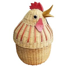 Straw Coaster Set 12 Woven Coasters with Chicken Head Case