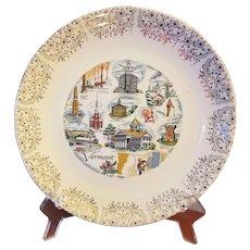 Vermont Souvenir Plate Gold Floral Border