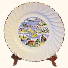 Delaware Souvenir Plate Salem Swirl Gold Edge Border