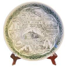New Jersey Souvenir Plate Green Transferware