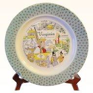 Virginia The Old Dominion Souvenir Plate Fleur-de-Lis Border