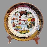 Michigan Souvenir Plate Crest-O-Gold 22 K Border