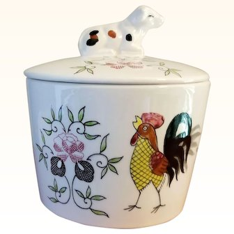 Ucago Drip Jar Cow on Lid Early Provincial Rooster Pattern