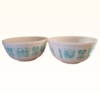 Pyrex Butterprint Turquoise 2 Mixing Bowls 403 2.5 Quarts