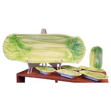 Celery Tray with 6 Matching Salts Green Celery Shape Japan