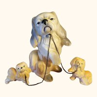 Pekingese Dog and Puppies on Chain Leash Original Dee Bee Imports Japan Hand Painted Bisque