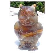 Caramel Slag Hootless Owl figurine Imperial Glass