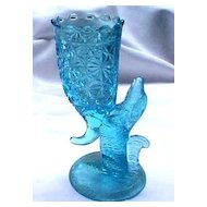 Blue Dog Cornucopia Vase EAPG 1890's Columbia Glass