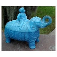 Blue Milk Glass Elephant & Rider Covered Dish Vallerysthal 1800's