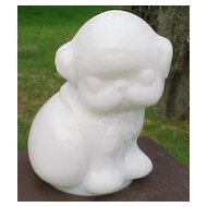 White Milk Glass Puppy Dog Paperweight Gillinder Glass