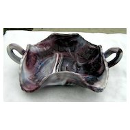 Purple Slag Ruffled Butterfly Bonbon Candy Dish Fenton