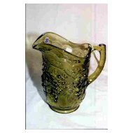 Green Grape Pattern Water Pitcher Imperial Glass