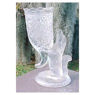 Crystal Dog Vase EAPG 1890's Columbia Glass