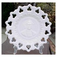 Milk Glass Christopher Columbus Plate