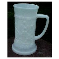 Milk Glass Beer Mug Tankard with 3 Men