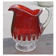 Ruby Stain Cream Pitcher Honeycomb Pattern EAPG