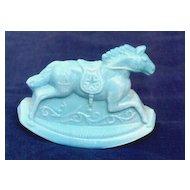 Blue Milk Glass Rocking Horse Guernsey Glass 1982
