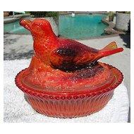 Red Orange Slag Bird Robin Covered Dish 1980's