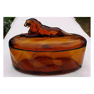 Amber Lion Trinket Covered Box Heisey Collector's Guild