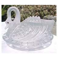 Satin Crystal Block Swan Covered Dish 1880's Challinor Taylor