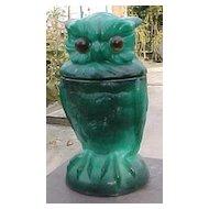 Green Milk Glass Slag Malacite Owl Toby Jar Covered Dish 1998