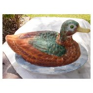Milk Glass Mallard Duck Covered Dish Dominecker Challinor Taylor 1880