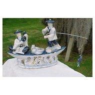 Cobalt Blue Porcelain Japanese Fishing Boat & Fish