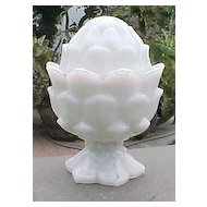Milk Glass Artichoke Covered Dish Vallerysthal France 1880's