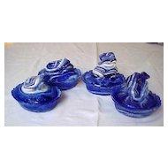 Four Cobalt Blue Slag Frog Covered Dishes UNUSUAL