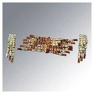Vintage Rhinestone Amber Colored and Aurora Borealis Pin & Earring Set