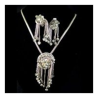 Rhinestone Demi Parure With Mesh Silvertone Dangling Necklace & Earring SetSet