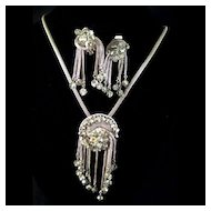 Rhinestone Demi Parure With Mesh Silvertone Dangling Necklace & Earring SetSet