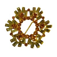 Vintage Brooch Amber & Yellow Rhinestone Round Pin