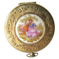 Courting Couple Pastoral Scene Powder Compact or Pill Box 1960s / Wedding Gift / Vanity Item / Purse Accessory
